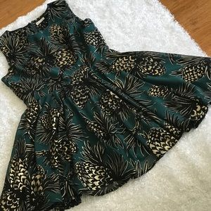 Maison Jules Gold and Black Pine Cones Dress